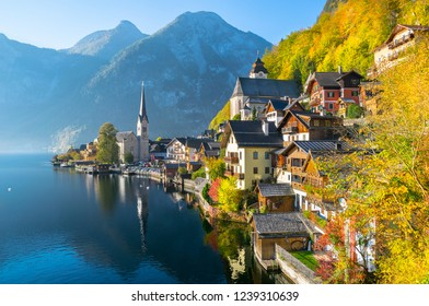 Wonderful autumn day in Hallstatt the Unesco World Heritage and one of the most beautiful village in the world