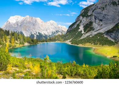 Wonderful autumn day in Seebensee Lake with  Zugspitze Mountain in the background - Ehrwald, Tyrol - Austria