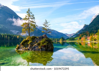 Wonderful autumn of Hintersee lake of Bavarian Alps on the Austrian border, Germany, Europe