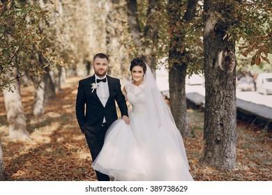 a wonderful autumn wedding beautiful happy couple