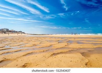 Wonderful beach with sand relief in surf beach