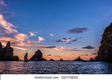 Wonderful and beautiful sunset island. Dokdo. is the east end territory of Republic of Korea.