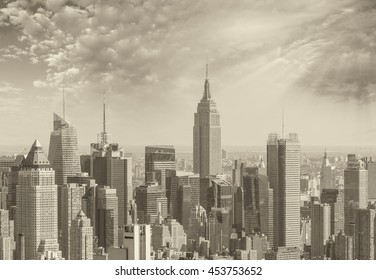 Wonderful black and white aerial view of New York, Manhattan skyline from Hudson river.
