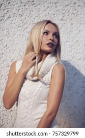 4b8101af8766 Beauty Caucasian Female White Pullover Sitting Stock Photo (Edit Now ...
