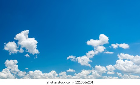 Wonderful blue sky and white clouds panorama, Bright clouds on clear sky