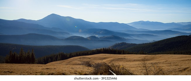 Wonderful Carpathian mountain landscape on panoramic view