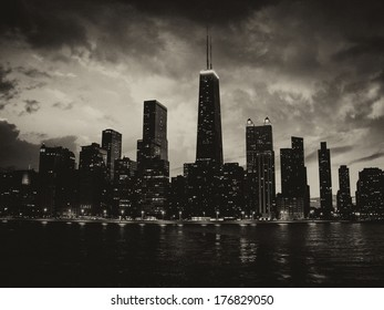 Wonderful Chicago Skyscrapers Silhouette at sunset.