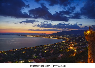 The wonderful city of Kalamata. Blue hour view from Verga village on Taygetus Mountain. Messenia - Greece.