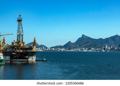 Wonderful city, Rio de Janeiro Brazil, South America. Oil and gas ship. Offshore oil industry. Copy space for advertising, to insert text or slogan. Discount sale.