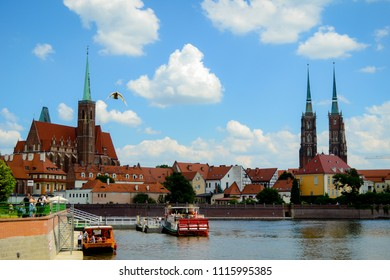 wonderful city Wroclaw was taken in summer when the sky was blue
