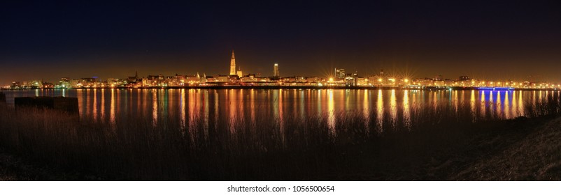 A wonderful cityscape / landscape of Antwerp. This panorama shows the beauty of the city. The lights of the river Schedt shines.