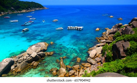 wonderful cliff view and colorful clean sea water on the island south of Thailand.