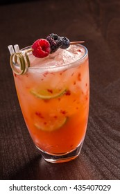 wonderful cocktail with berries on top