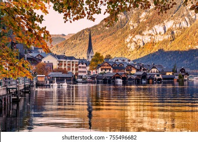 Wonderful Colorful Sunset at Hallstatt. view of famous Hallstatt mountain village with Hallstatter See in the Austrian Alps, region of Salzkammergut, Austria. popylar touristic location.