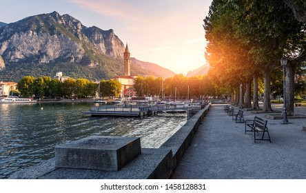 Wonderful Colorful sunset over the Lecco town on Famouse como lake. Amazing nature scenery. Best popular places for travel. landscape cityscape view. Como lake. Lecco town. Italy