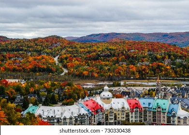 Wonderful colors of Fall over the area surrounding the Mont Tremblant resort village, Quebec, Canada