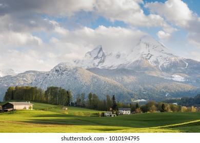 Wonderful day in spring at mountain Watzmann in the Alps of Berchtesgaden