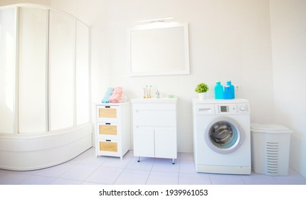 Wonderful design idea for domestic stylish bathroom interior with washing machine in light tones