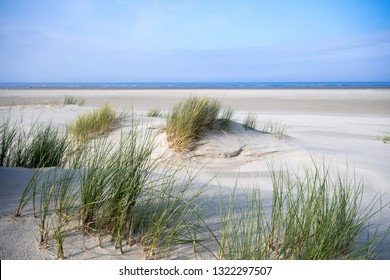 Wonderful dune beach landscape on the North Sea island Langeoog in Germany with sky and clouds on a beautiful summer day, Europe.