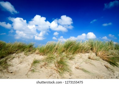 Wonderful dune beach on the North Sea island Langeoog in Germany with clouds on a beautiful summer day