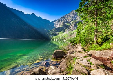 Wonderful dusk at pond in the Tatra Mountains in Poland