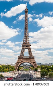 Wonderful Eiffel Tower with blue sky in Paris France