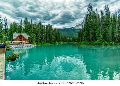 Wonderful Emerald Lake surround view from Emerald Lake lodge in Yoho National Park 1, BC, Canada.