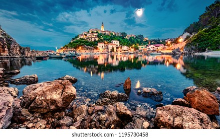 Wonderful evening cityscape of Vrbnik town. Splendid summer seascape of Adriatic sea, Krk island, Kvarner bay archipelago, Croatia, Europe. Beautiful world of Mediterranean countries.