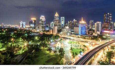 Wonderful evening period cityscape at Lumphini Park, Bangkok, Thailand. Lumphini (Lumpini) Park is a park in Bangkok, Thailand.