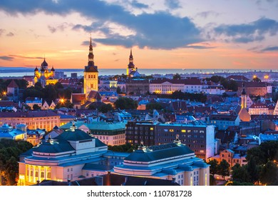 Wonderful evening scenic summer panorama of Tallinn, Estonia
