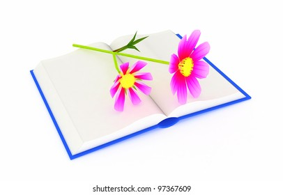 Wonderful flower ??osmos on the exposed book