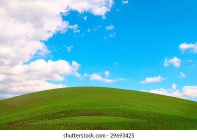 Wonderful green grass, the blue sky and white clouds.