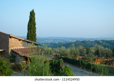 wonderful houses with beautiful landscapes on the Chianti hills in Tuscany Italy
