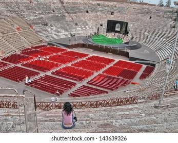 Wonderful interior view of famous Verona Arena, Italy.