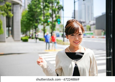 wonderful Japanese woman with a smiling face