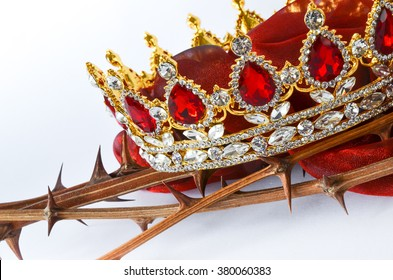 Wonderful jewelry crown with ruby and diamond stones on twigs with thorns/Good Friday Symbols/Cross and resurrection of Jesus Christ