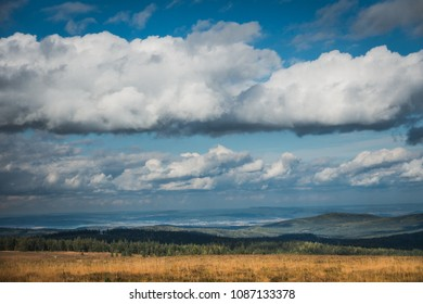 Wonderful landscape with blue sky in the middle of czech woods Brdy.