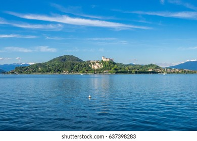 Wonderful landscape of Castle and Rocca of Angera in front of Arona, on Maggiore Lake, Lombardy, Italy.