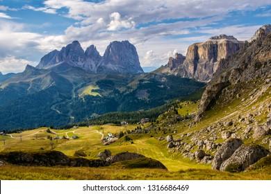 Wonderful landscape of  the Dolomites Alps.  Majestic Langkofel (Sassolungo) and Sella Ronda. Location: South Tyrol,