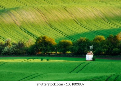 Wonderful landscape of Moravian Tuscany with small chapel (dreamy soft look)