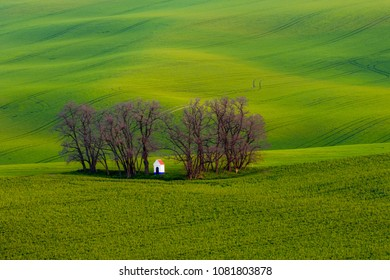 Wonderful landscape of Moravian Tuscany with St. Barbora's chapel