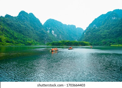 Wonderful landscape in Ninh Binh/Vietnam - August 2017. Spectacular landscape in Ninh Binh with mountains, caves and boat tour on river. Famous boat tour place in Trang An