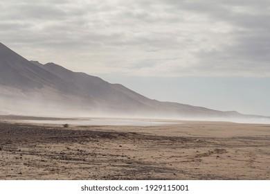 Wonderful landscape scenery of mountainous beach near Atlantic ocean in Fuerteventura island, Canary islands.