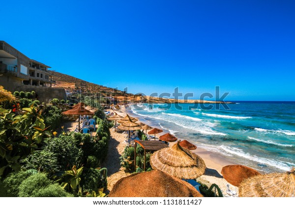 Wonderful landscape of the Tunisian beach. Taken at Hammamet, Tunisia. Wonderful destination for vacations!