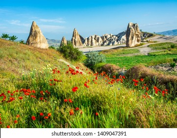 Wonderful landscape with view at fairy chimneys and with flowering poppies in Cappadocia, Anatolia, Turkey. Volcanic mountains in Goreme national park.