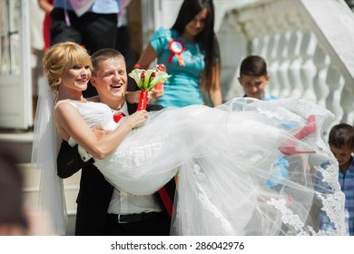 wonderful luxury wedding ceremony caucasian blonde bride and groom