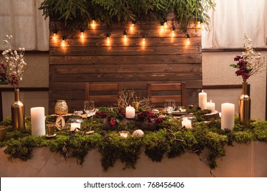 Wonderful magical interior of table for newlyweds table in rustic style with natural decor.