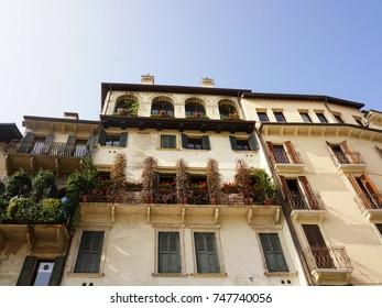 Wonderful medieval architecture on Piazza delle Erbe, Verona, Italy
