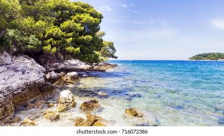 The wonderful Mediterranean Sea in Croatia. The romantic town of Rovinj background.
