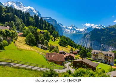 Wonderful mountain car-free village Wengen, Bernese Oberland, Switzerland. The Jungfrau is visible in the background